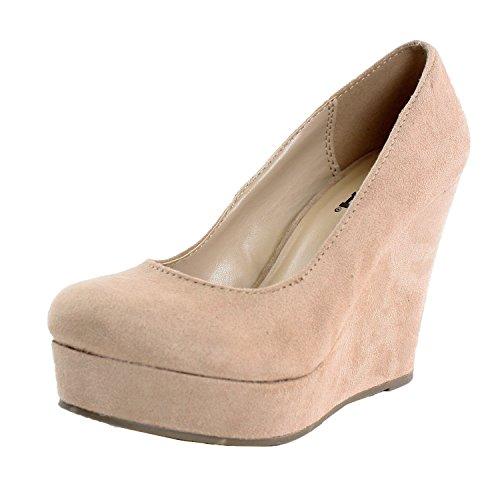 """Soda """"Beer"""" Womens Shoes Round Toe Wedge Pump Platform,5.5 B(M) Us,Beige"""