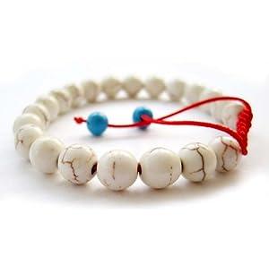 8mm Howlite Turquosite Stone Beads Tibetan Buddhist Wrist Mala Bracelet for Meditation