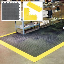 WEARWELL ErgoDeck Modular Mat Tiles/Ergonomic Flooring - Black