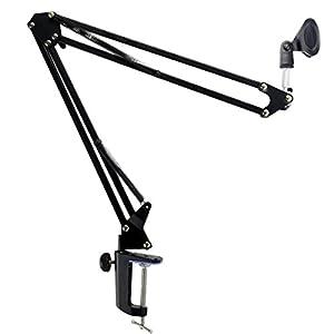 WINOMO Microphone Suspension Boom Scissor MIC Arm Stand Broadcasting Studio Mic (Black)