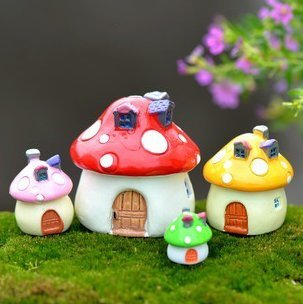 SUN-E 4 color&Size In Set Miniature Fairy Garden Mushroom House Ornament Outdoor Decor Home Decoration (Outdoor Miniatures compare prices)