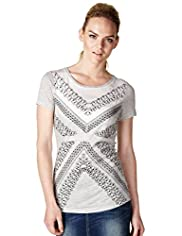 Limited Collection Criss-Cross Embroidered Textured T-Shirt