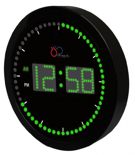 """Dbtech Time Sphere - Stylish Big Digital Led Clock With Circling Led Second Indicator - Round Shape (10"""" / Green Led)"""