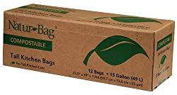 Natur-Bag Large Food Waste Compostable Bags - 13 Gallon, 12 Bags