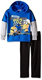 Universal Little Boys\' 2 Piece Long Sleeve Oops Minions Fleece Set, Blue, 7