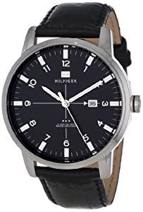 Tommy Hilfiger Men's 1710330 Casual Sport 3-Hand Black Croco Leather Strap and Stainless Steel Case Watch