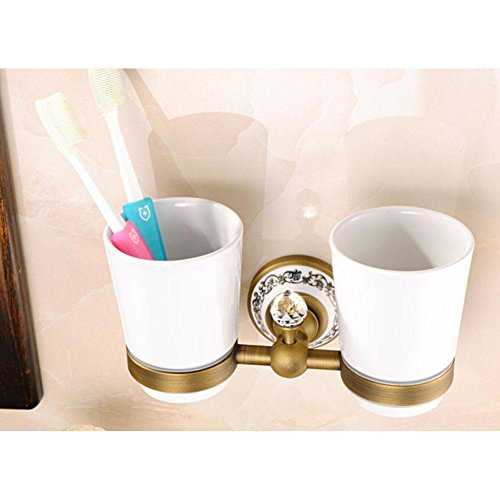 X&L Rustic ceramic copper gargling Cup holder toothbrush bathroom brush double Cup holder