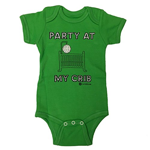 "Fayebeline Boutique Quality Baby Onesie ""Party At My Crib"" Funny Baby Gift, Apple, 0-6M"