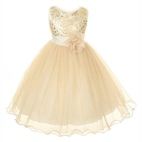 My Girl Dress Inc Girl'S Soft Tulle Skirt Holiday Dress With Sequin Bodice-Gold-6