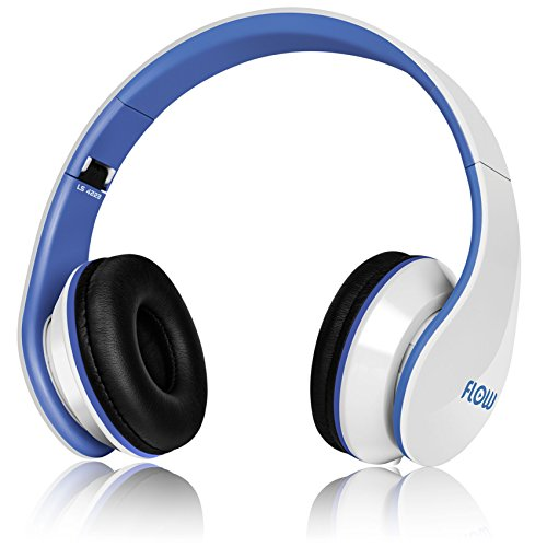 Sentey® Headphone Flow (White/Blue) Foldable For Easy Storage With Detachable 3.5 Mm Audio Cable That Includes In-Line Microphone And Controls Compatible With Apple Ipad Ipod Or Iphone Or Any Mp3 Mp3 Dvd Player Great Bass And Good For Workout And Running