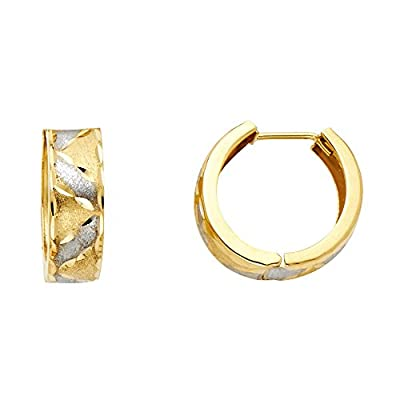 Wellingsale® Ladies 14k Two Tone Gold Polished 5mm Hoop Huggies Earrings (15 x 15 mm)