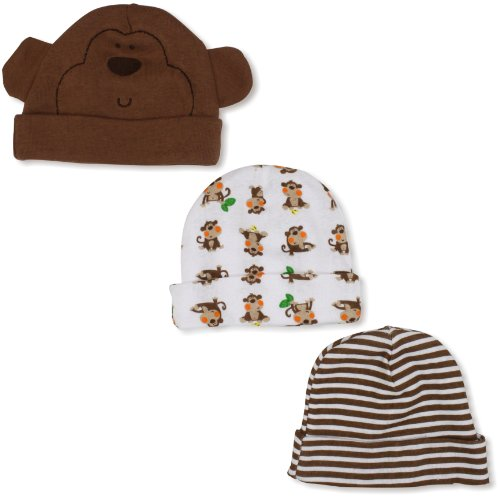 Gerber Baby-Boys  Monkey 3 Pack Cap, Brown/White, 0-6 Months