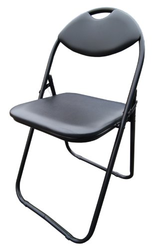 Black Faux Leather Folding Chair Padded Seat & Back Rest Computer Office Chairs