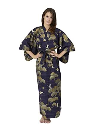 Beautiful Robes Women's Pines & Cranes Cotton Kimono Navy Blue Plus