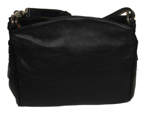 Womens Italian Leather Shoulder Handbag Black