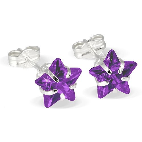 SilberDream earring purple star, Amethyst, 925 Sterling Silver SDO513V