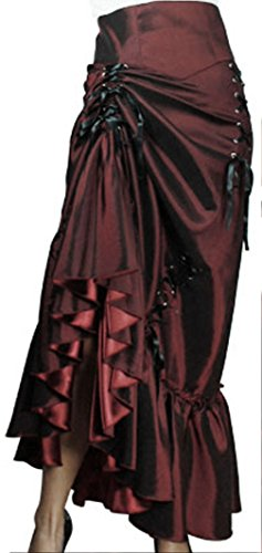 -Steampunk Ball- Burgundy Black Victorian Sateen Corset Vintage Style Skirt
