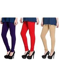 K.P.Creation Black,Red & Skin Cotton Lycra Legging Pack Of 3 (Free Size)