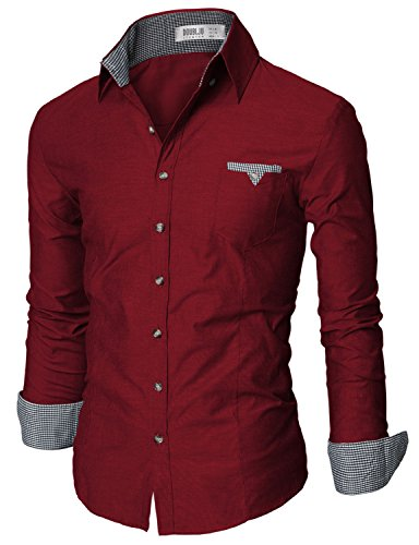 Doublju Mens Slim Fit Long Sleeve Flannel Dress Shirt WINE, Tag Large, US Medium
