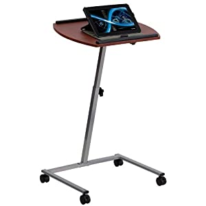 Flash Furniture Angle and Height Adjustable Mobile Laptop Computer Table with Mahogany Top