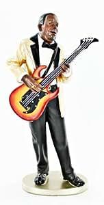 Black African American Statue Jazz Male Guitar Ethnic Figure V63596