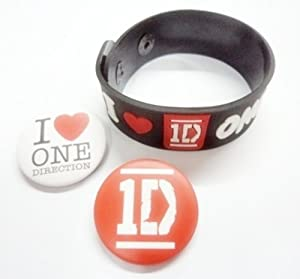 "3x 1.25"" 1D ONE DIRECTION Button Badge Pin Pinback brooch & rubber wristband bracelet"