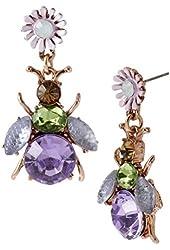Betsey Johnson Spring Fling Purple Bug Flower Drop Earrings