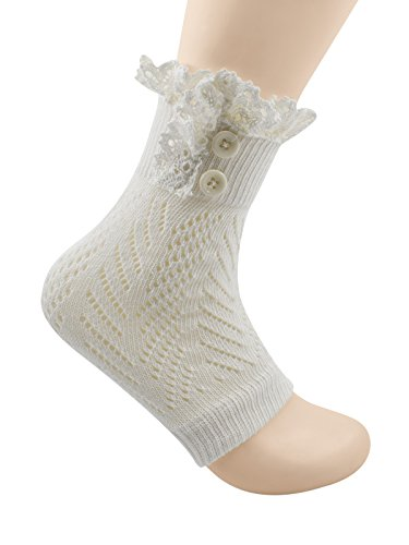 Spring fever Women's Cotton Lace Boot Cuffs Trim and Buttons C White