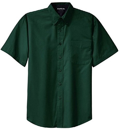 Clothe Co. Men's Big & Tall Short Sleeve Wrinkle Resistant Easy Care Button Up Shirt, Dark Green/Navy, 3XLT Big Tall Dress Clothes