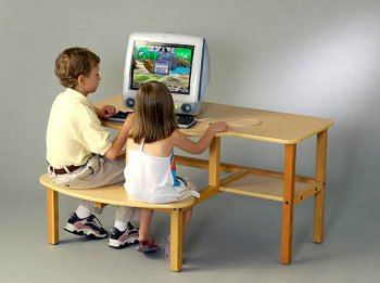 Buy Low Price Comfortable Buddy Computer Desk for 2 children (B0001OI7DM)