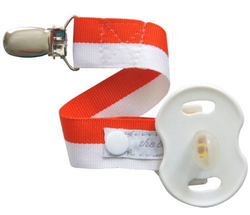 Team Spirit! Orange & White Stripe Binkmeister Pacifier Clip W/snap Closure - Ready to Gift in an Adorable Clear Box - Perfect for Your Little Fan