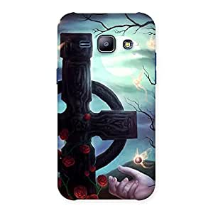 Stylish Crossed Circle Multicolor Back Case Cover for Galaxy J1
