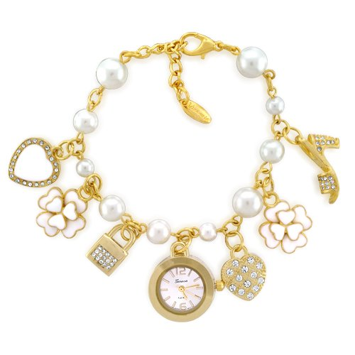 Bling Jewelry Gold-Plated Metal Daisy Shoe Charms Watch & Charm Bracelet