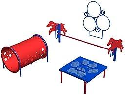 BarkPark Novice 4-Piece Dog Agility Course Set, Blue/Red