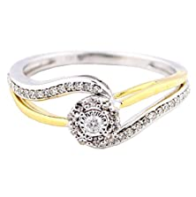 buy 10K White Gold Two Tone Gold Diamond Engagement Ring 8Mm Wide Split Shoulder (1/5 Cttw,)