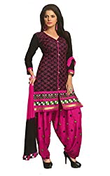 SGC Black & Pink Cotton Embroidery unstitched churidar Patiyala (NKT-5102)