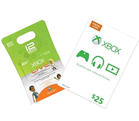 Xbox Live 12-Month Gold + $25 Xbox Gift Card [Online Game Code]