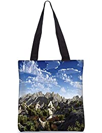 Snoogg Mountains From Top Digitally Printed Utility Tote Bag Handbag Made Of Poly Canvas