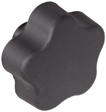 "DimcoGray Black Thermoplastic 5 Lobe Fluted Soft Feel Knob Female, Brass Insert: 3/8-16"" Thread x 5/8"" Depth, 2-3/8"" Diameter x 1-5/8"" Height x 3/4"" Hub Dia x 11/16"" Hub Length (Pack of 10)"