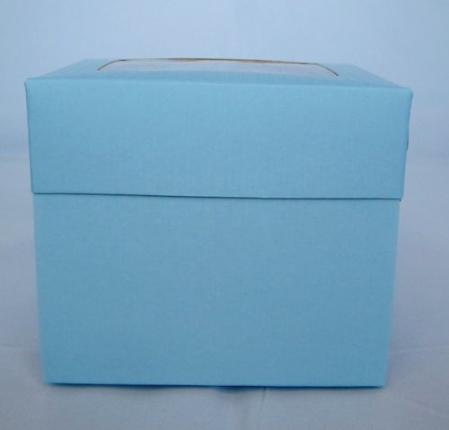 Single Powder Blue Cupcake Boxes with Window pack of 10