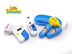 Doctor Set A Great Package For Preschooler Doctors, Consists Of Medical Instruments; A Lighting Thermometer, Safe To Use Tweezer, An Otoscope, And A Board Clipped With Diagnosis Report And Pencil.