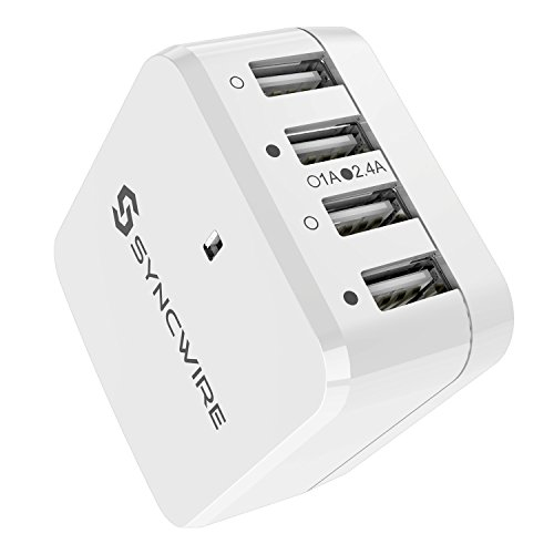 USB Charger Plug Syncwire 4-Port USB Wall Charger with US UK EU International Travel Adapter Series- 6.8A/34W for Apple iPhone iPad Samsung Smartphone Tablet - White [UL Certified]