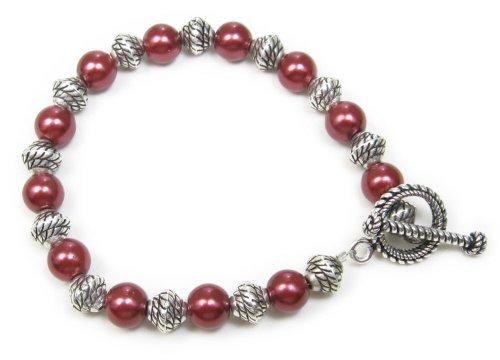 AM5692 – Unique Deep Red Silver plated bracelet by Dragonheart – 20cm