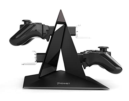 KONNET PS3 Power Pyramid Charger, Charging and Storage Dock / Tower / Kit / Stand for Four Game Controllers / Consoles - Black