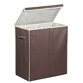 Double Laundry Hamper with Lid - Two Compartment Clothes Laundry Sorter with Side Handles for Easy Carrying. Magnetic Flap for Secure Closure and Polyester Liner to Reduce Laundry Odors and Moisture.