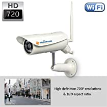 TriVision Bullet HD 720p Outdoor Weatherproof Home IP Security Camera System, Wireless N, High Definition 1280 x 720 pixel, Built-in DVR Expandable to 64Gb, Free Plug and View App on iPhone, iPad, Android Smart Phone.