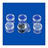 6pc Bead Jar Storage Set - Screw-On Tops - 1-1/2&quot;D x 1-3/4&quot;H - Clear Acrylic