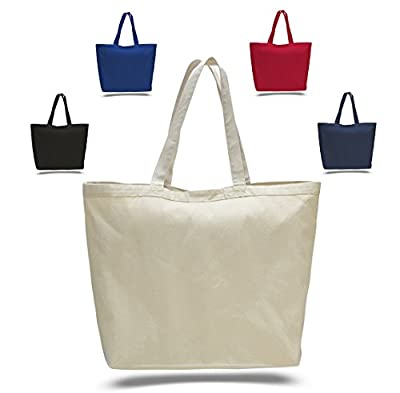"""23"""" Extra Large Canvas Tote Bag w/Velcro Closure Pool Beach Shopping Travel Tote Bag Eco-Friendly"""