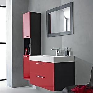 Ensemble meubles de salle de bain rouge et noir laqu design moderne armoir - Meuble salle de bain rouge ikea ...