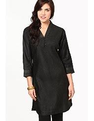 Vedanta Women's Tussar Cotton Kurti (Black)